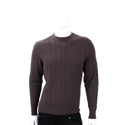 Andre Maurice咖啡色麻花針織手肘拼接長袖毛衣(100%CASHMERE)