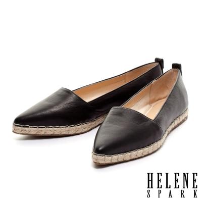 HELENE-SPARK-素面羊皮尖頭草編休閒鞋-黑