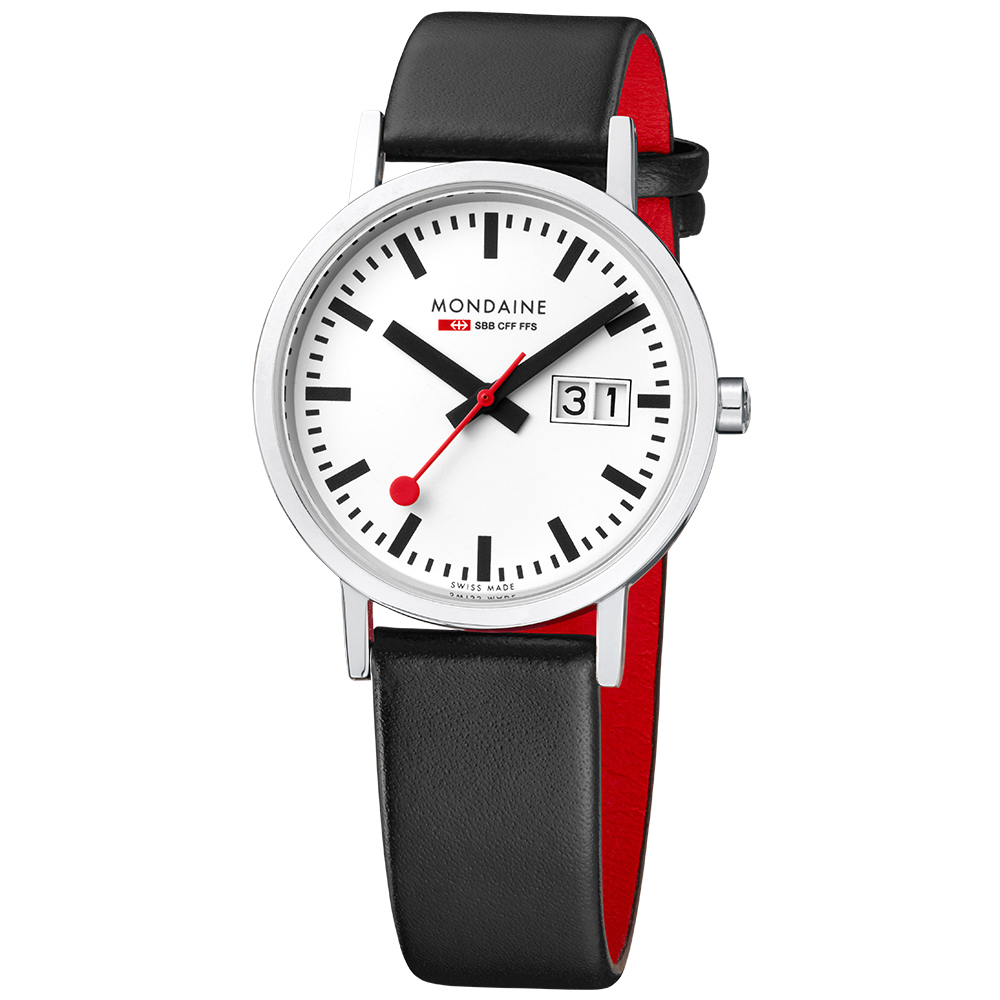 Mondaine 瑞士國鐵平面大日期視窗腕錶-33mm