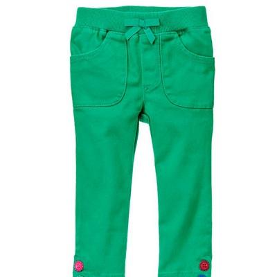 【Gymboree】 140117632小花鈕扣綠長褲(18~2T)