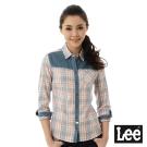 Lee 格紋拼布長袖襯衫女-藍