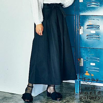 E hyphen 蝴蝶綁結棉質素色寬擺褲