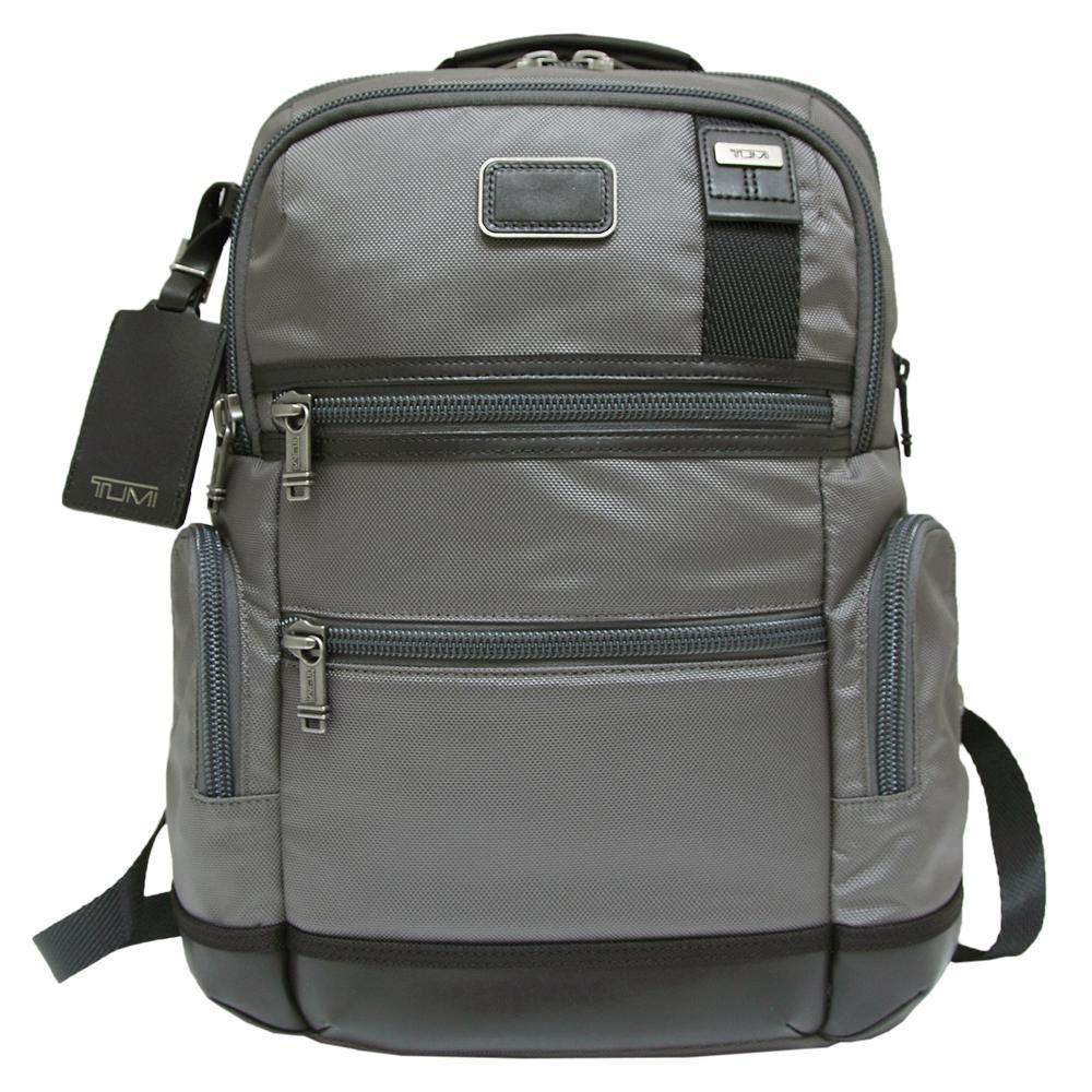 TUMI邊飾皮革多夾層尼龍後背包-灰色
