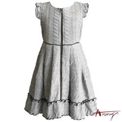 Anny浪漫荷葉壓紋彈性厚棉拉鍊洋裝*5407灰