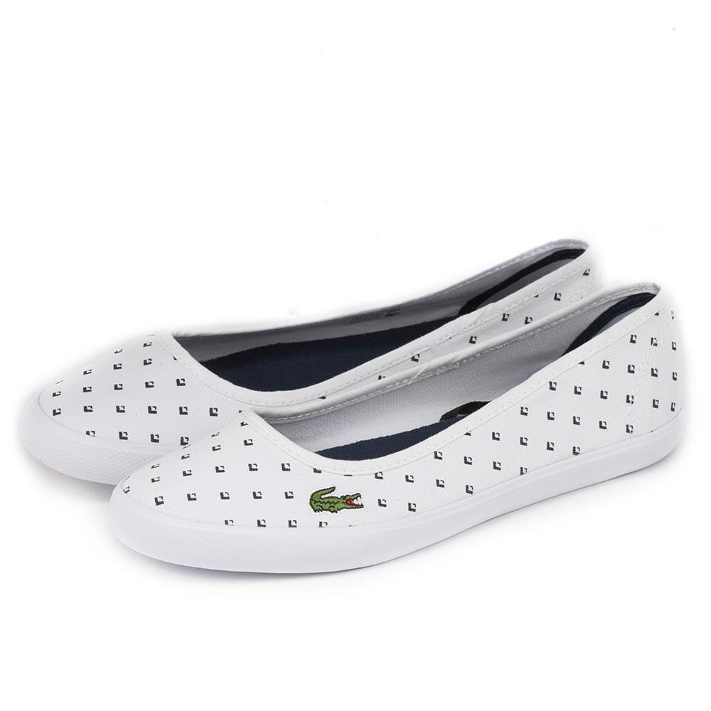 LACOSTE marthe 女用帆布休閒娃娃鞋-白色
