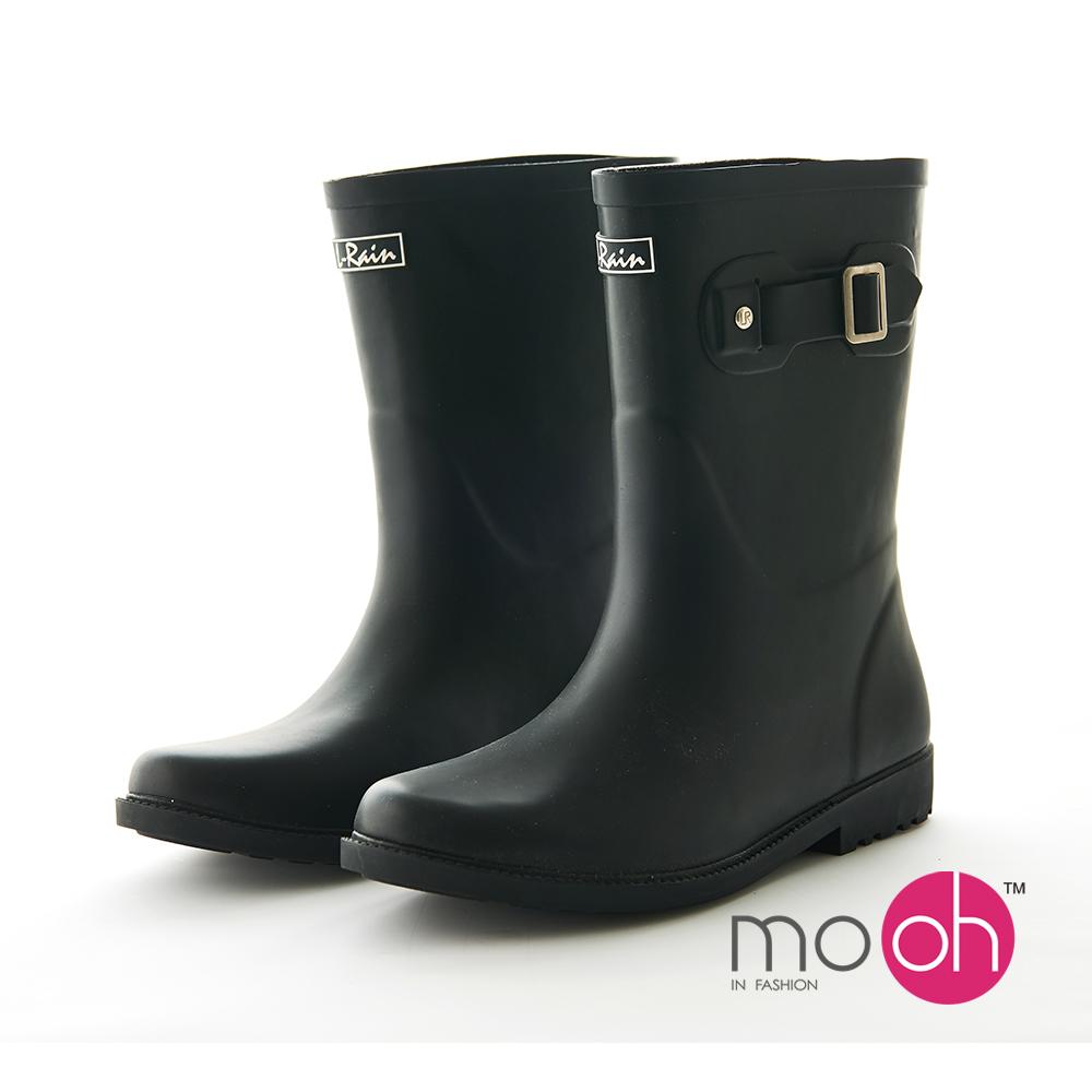 mo.oh 愛雨天-霧面橡膠柔軟搭扣中筒雨鞋-黑色