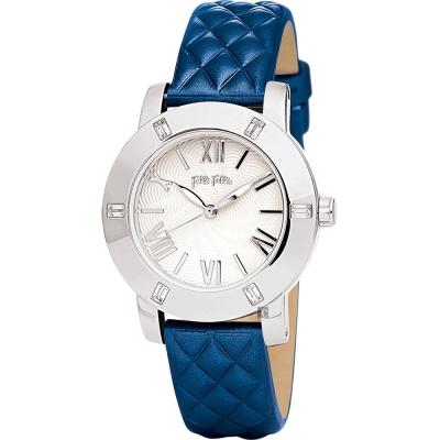 Folli Follie Donatella 璀璨水鑽羅馬亮采女錶-銀x藍/34mm