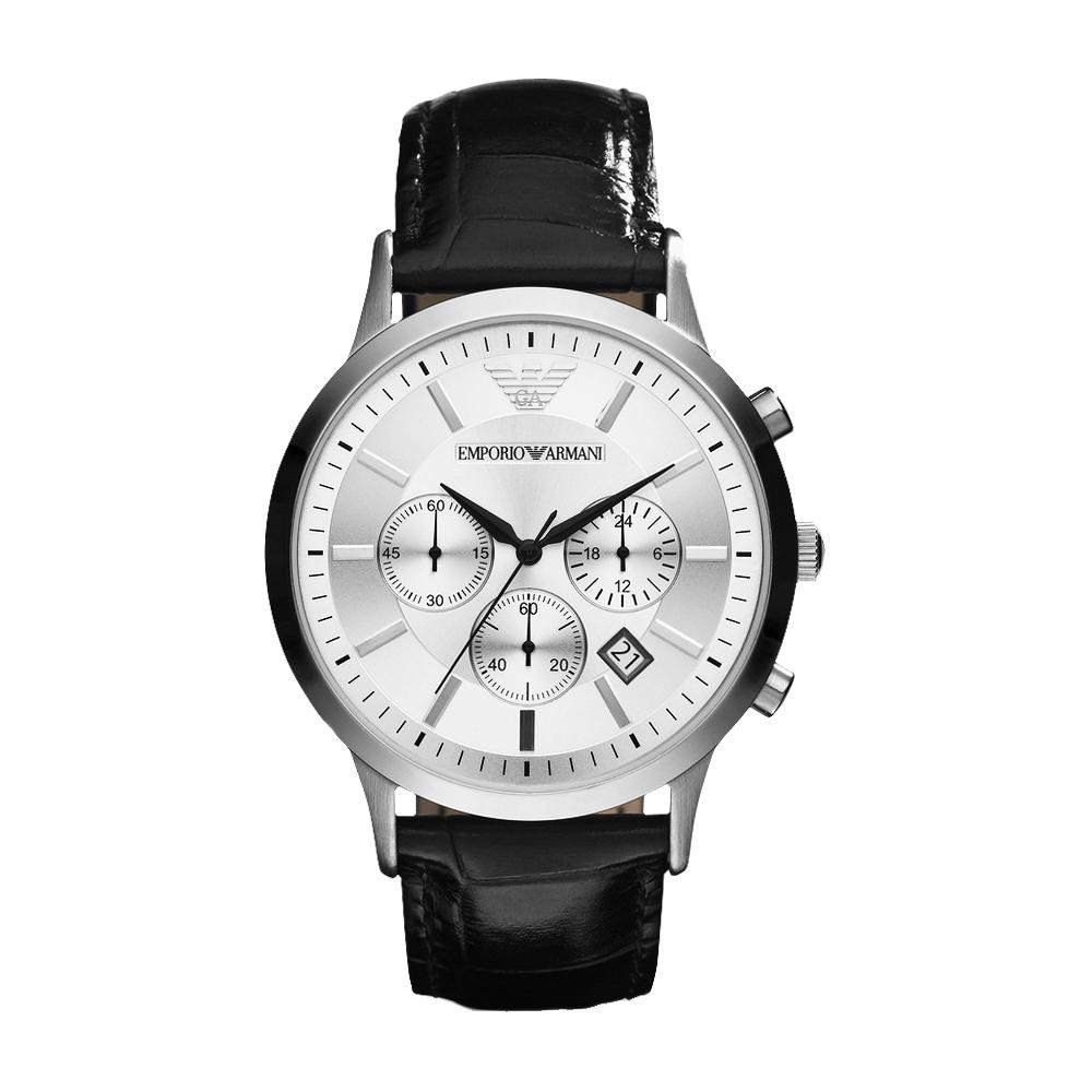 Emporio Armani Classic 王者時尚家三眼計時腕錶-銀x黑/43mm