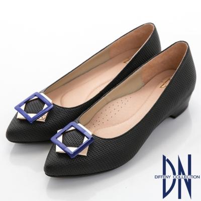 DN 魅力心機 真皮幾何飾扣尖頭低跟鞋-黑