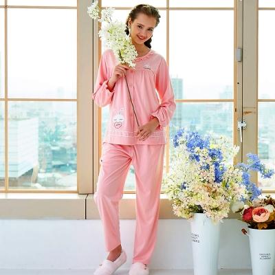 睡衣 精梳棉柔針織 長袖兩件式睡衣(67209)粉色 蕾妮塔塔