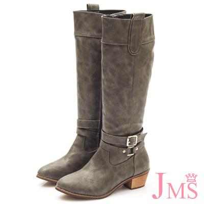 JMS-經典百搭造型雙扣馬蹄跟長靴-灰色