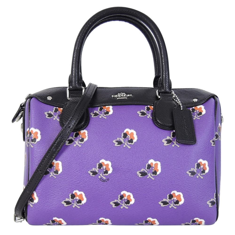 COACH 馬車花朵印花兩用波士頓包(小/靛紫)COACH