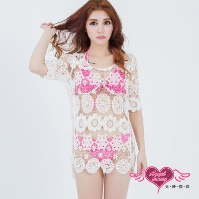 罩衫 花朵圓形  長版網紗長袖外搭罩衫(共2色)AngelHoney天使霓裳