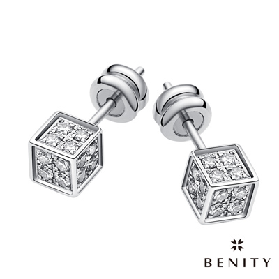 BENITY 猜心 316白鋼/西德鋼 八心八箭cz排鑽 方形設計 耳環
