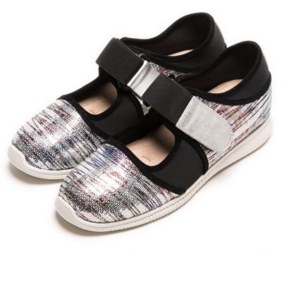 DIANA 漫步雲端焦糖美人款--雙色亮片簍空休閒鞋-銀