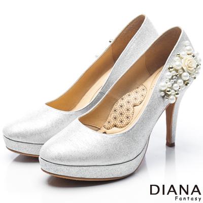 DIANA-漫步雲端LADY款-夢幻逸品水鑽新娘跟鞋-銀