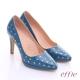 effie 摩登美型 鏡面牛皮金箔愛心窩心高跟鞋 藍 product thumbnail 1