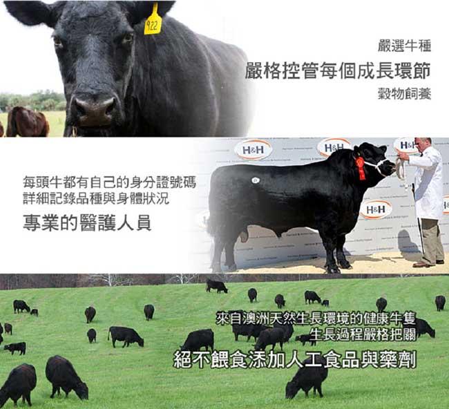 買一送一 饗讚 嚴選頂級澳洲穀飼牛排3片組(300g/片《共6片》)