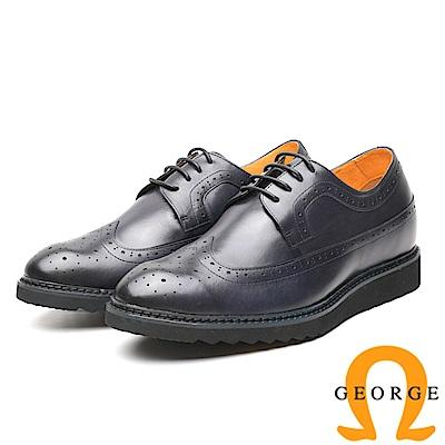 GEORGE 喬治-內增高系列 時尚雕花綁帶牛津鞋皮鞋-藍
