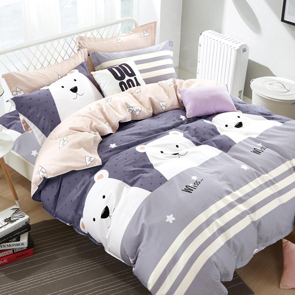 Ania Casa奇爾大熊 單人兩件式 100%精梳棉 台灣製 床包枕套純棉兩件組