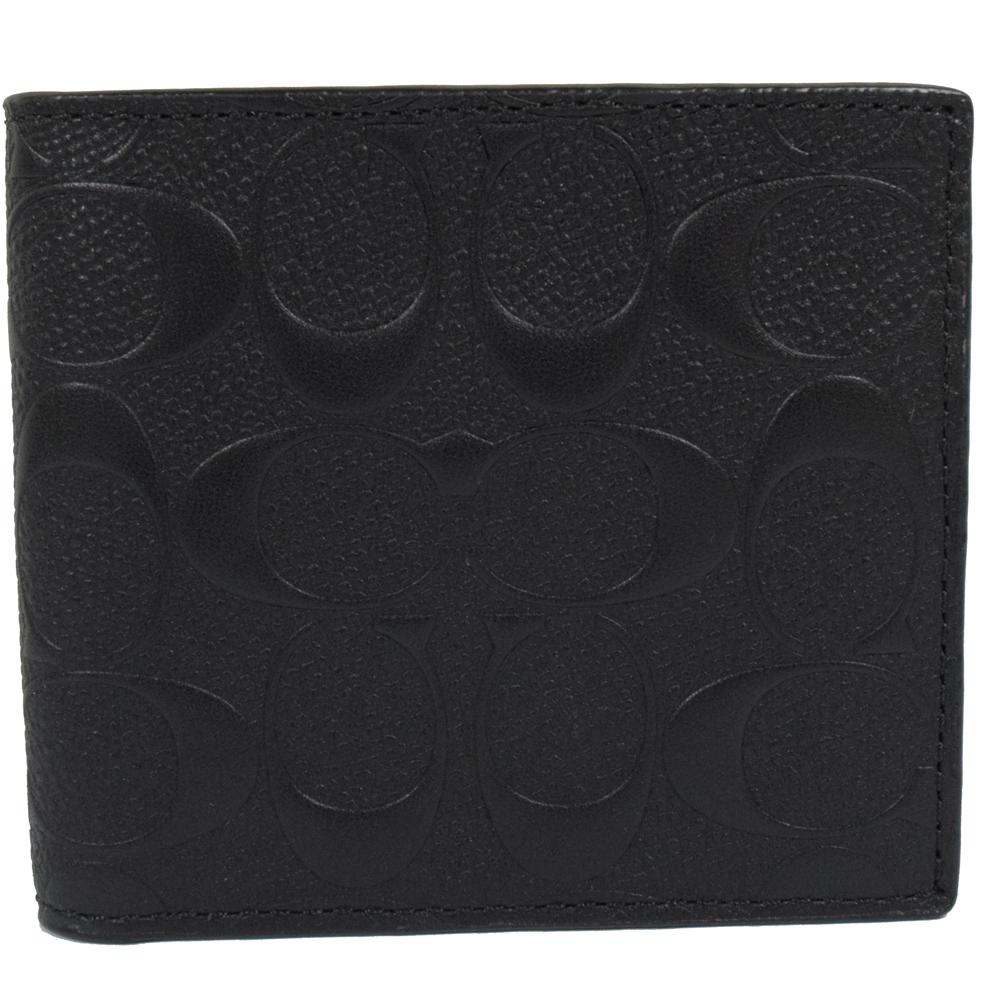 COACH 經典立體LOGO防刮牛皮壓紋零錢中短夾.黑