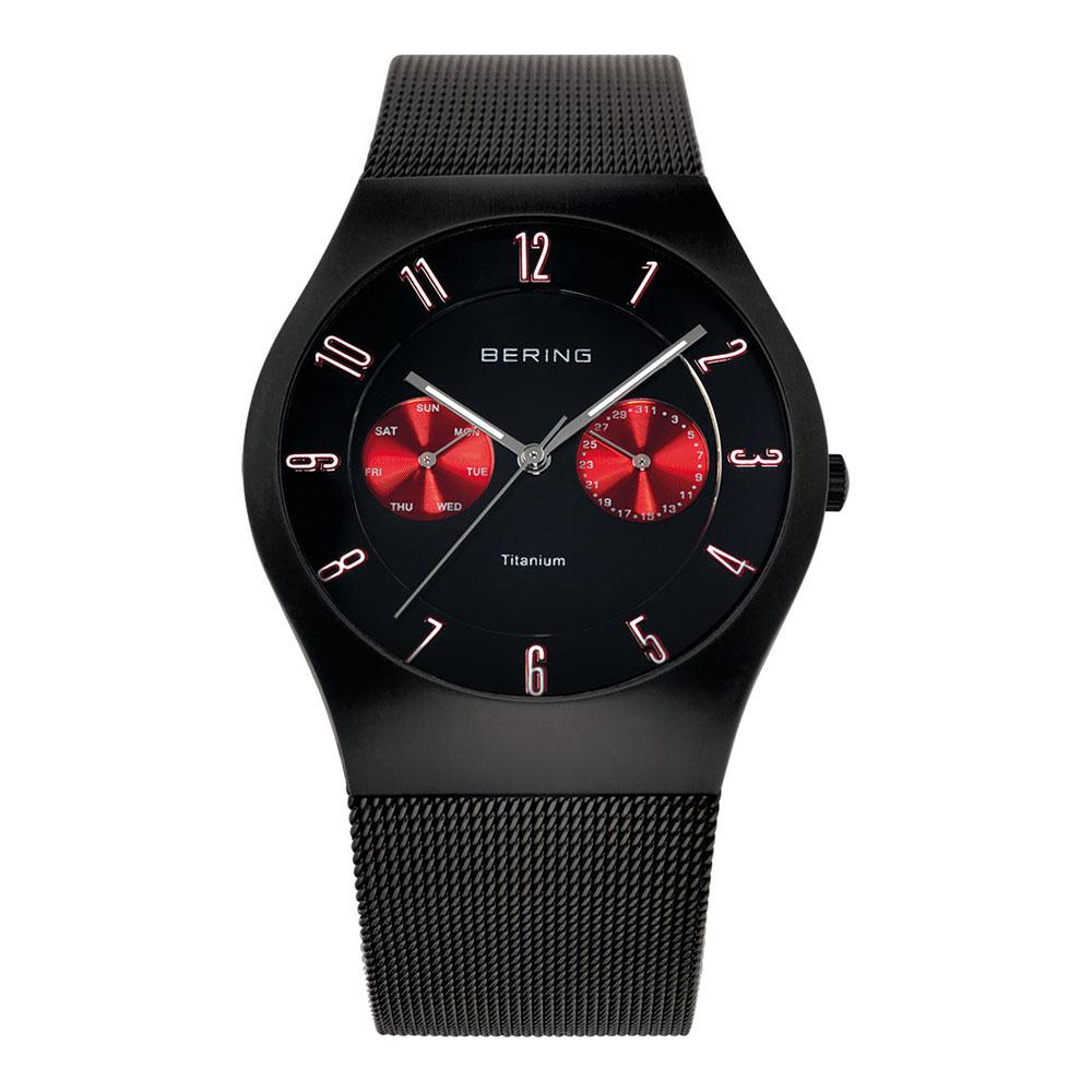 BERING丹麥精品手錶 雙眼顯示鈦合金米蘭錶帶 黑x紅39mm