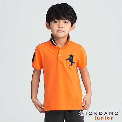 GIORDANO 童裝拿破崙刺繡短袖POLO衫-57 火焰橙