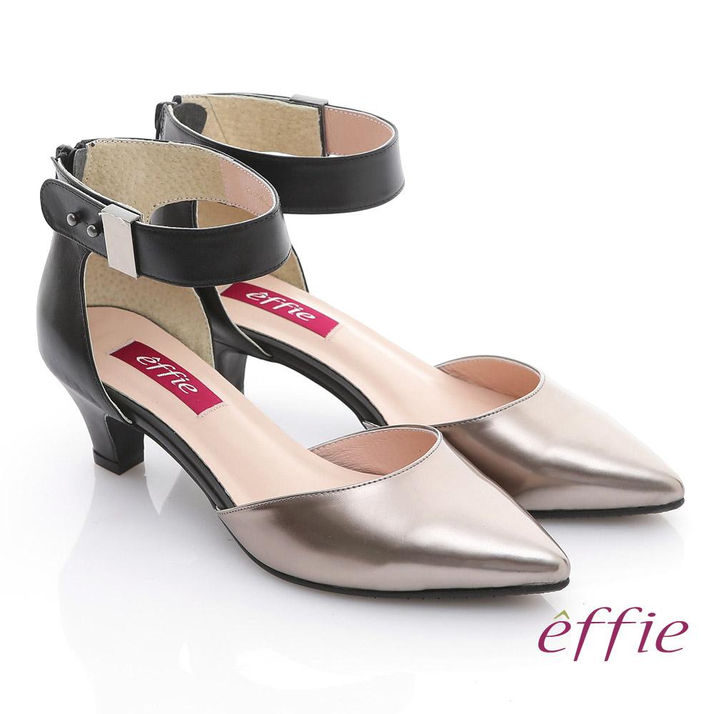effie 都會風情 全真皮肩頭時尚曲線低跟鞋 銀