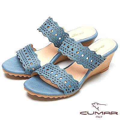 CUMAR涼夏單品-時尚簍空設計坡跟涼鞋-藍色