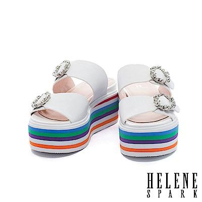 拖鞋 HELENE SPARK 鑽飾雙字帶多彩層次牛皮厚底拖鞋-白