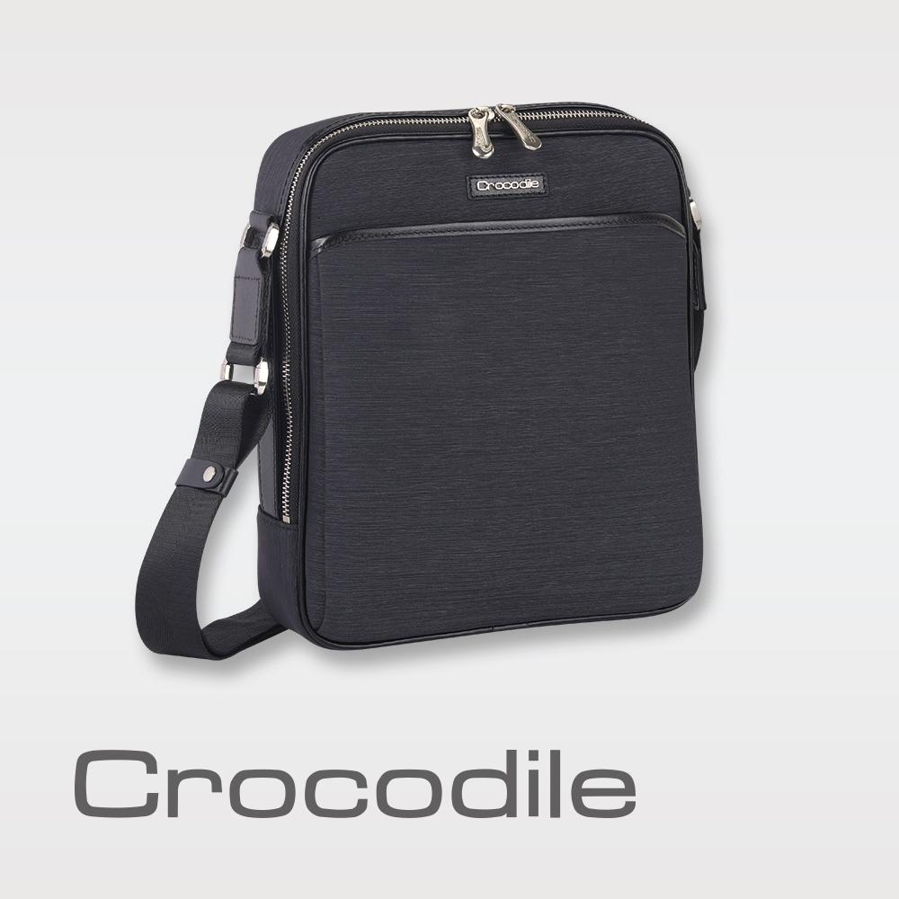 Crocodile Marvel布配皮系列直式斜背包(L)0104-07603