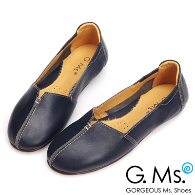 G.Ms. MIT系列-車縫簡約造型真皮娃娃便鞋-深情藍