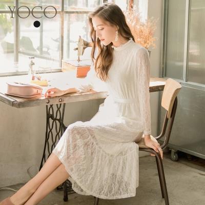 東京著衣-yoco 古典美人立領蕾絲洋裝-S.M.L(共二色)