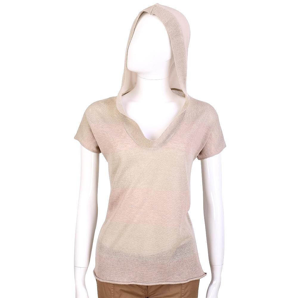 FABIANA FILIPPI 裸色連帽短袖薄針織上衣