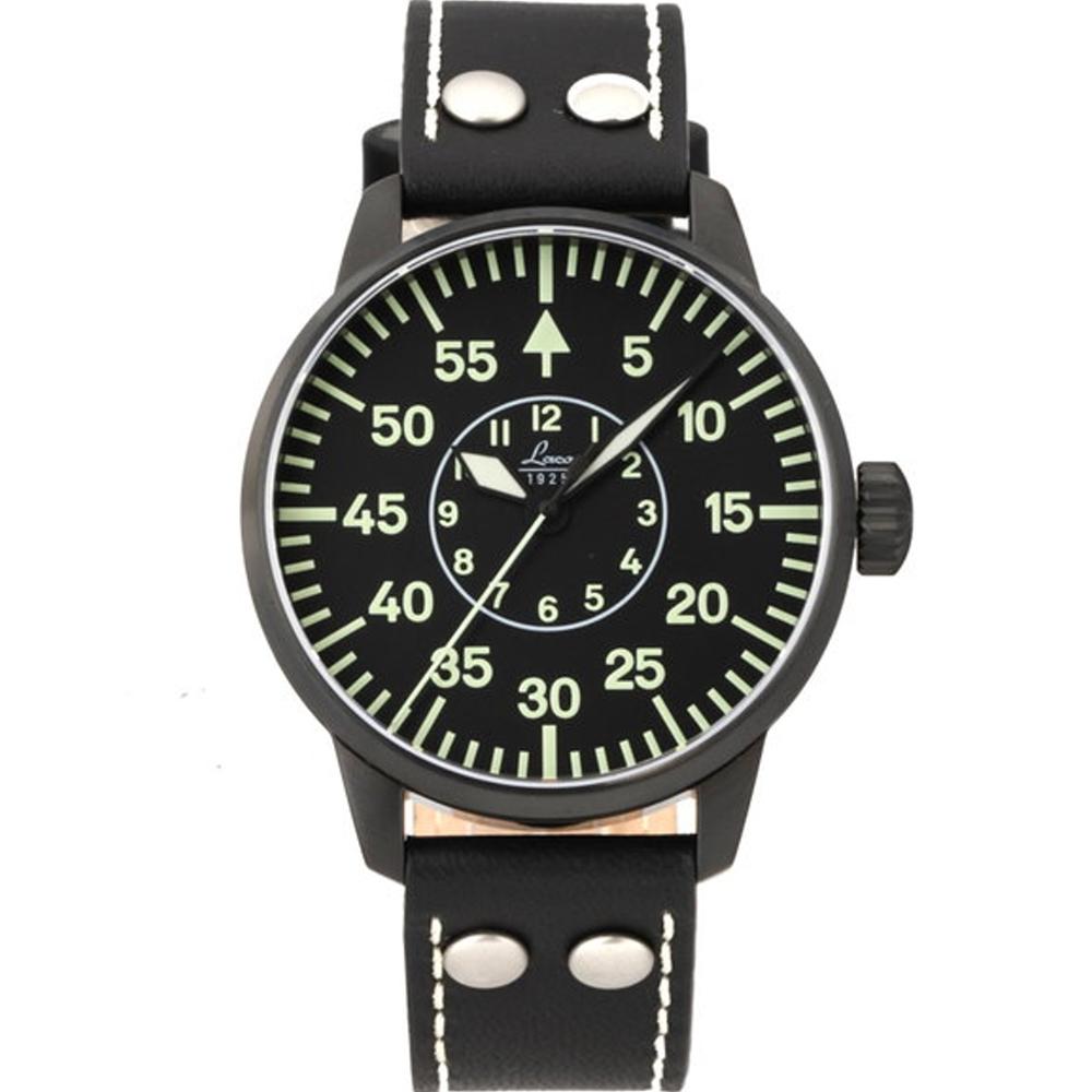 Laco朗坤 Bielefeld 夜光飛行機械腕錶-黑/42mm