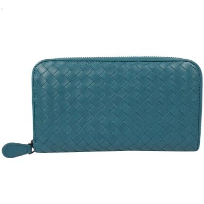 BOTTEGA VENETA小羊皮編織ㄇ字拉鍊長夾(藍綠)