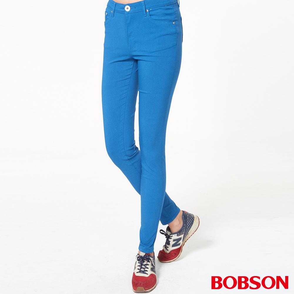 BOBSON 女款高腰彩色強彈力緊身褲(藍53)