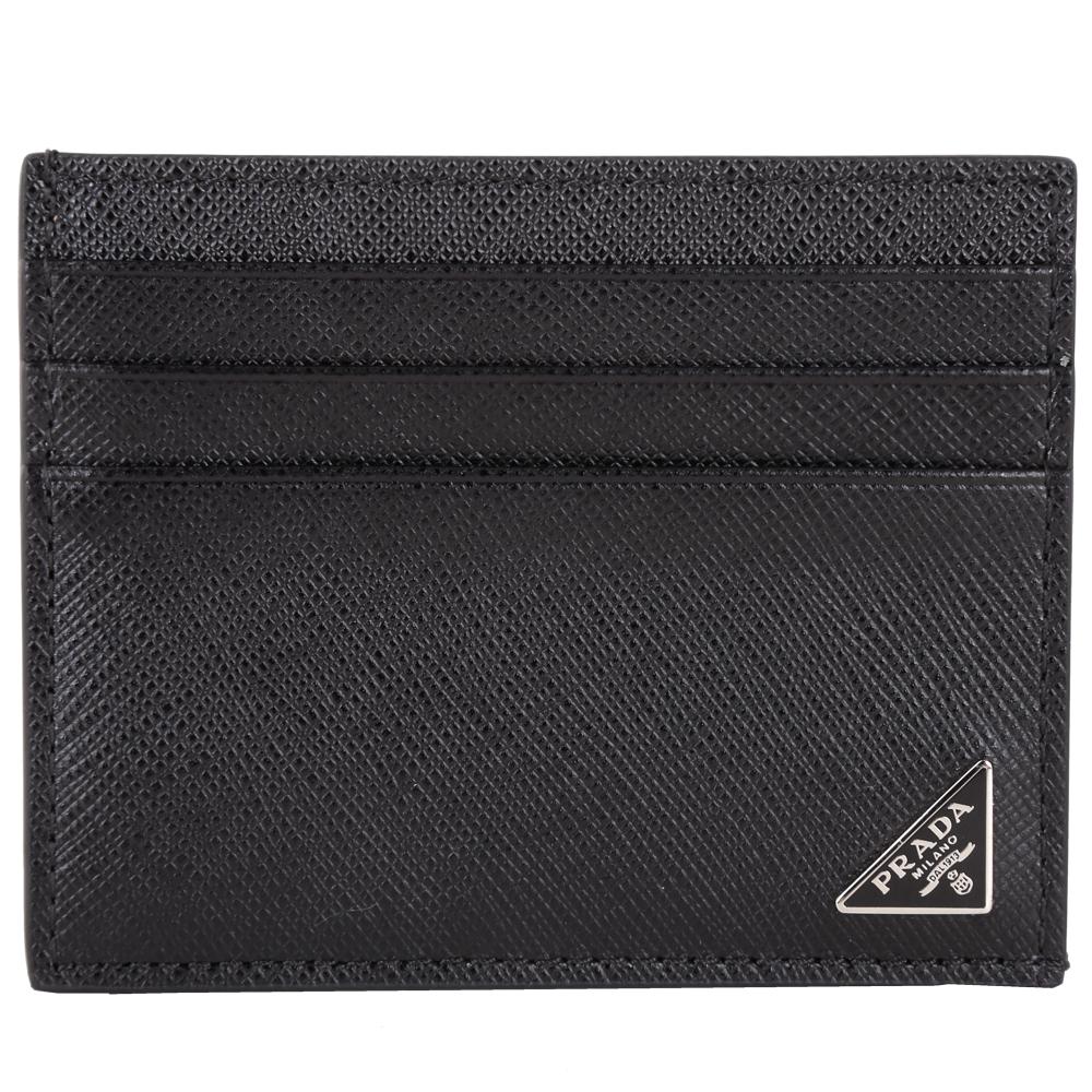 PRADA Saffiano 三角牌防刮牛皮萬用卡片夾(黑色)PRADA