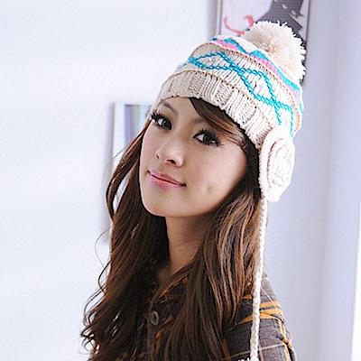 Aimee Toff 花樣編織層次方鑽遮耳針織毛線帽(米)