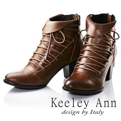 Keeley Ann法式浪漫~反摺綁帶造型全真皮中跟短靴(棕色)