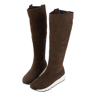 Robinlo&Co. 全真皮牛絨高筒及膝長靴 巧克力