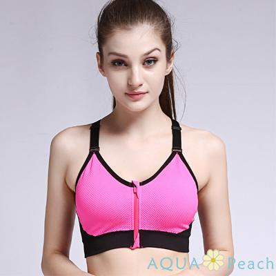 運動內衣 前拉鍊撞色挖背可調肩帶運動內衣 (玫紅色)-AQUA Peach