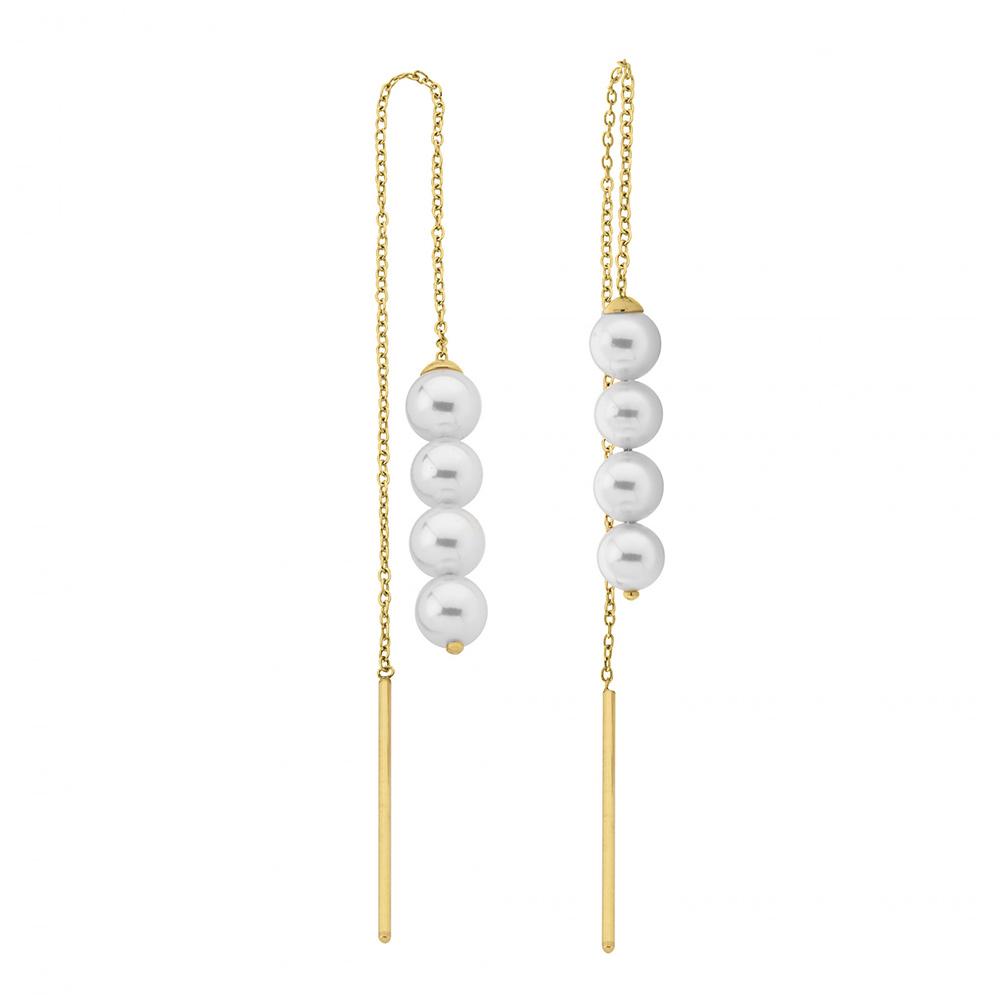 Majorica西班牙珠寶 魅力珍珠串長鍊耳環 金色