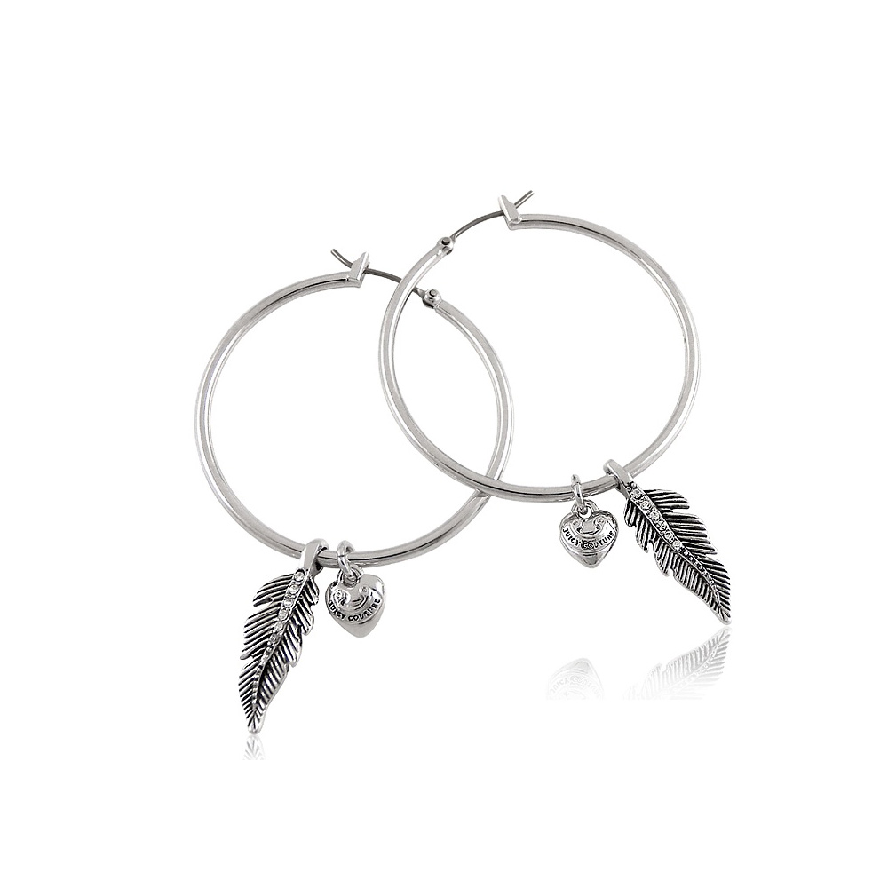 JUICY COUTURE 銀色葉片造型晶鑽鑲嵌環型耳環