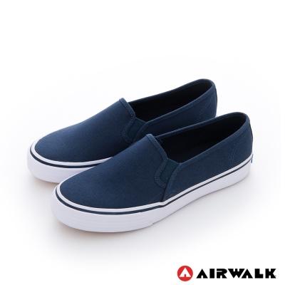 AIRWALK(女) - 小藍標 經典百搭基本直套懶人休閒鞋-深藍