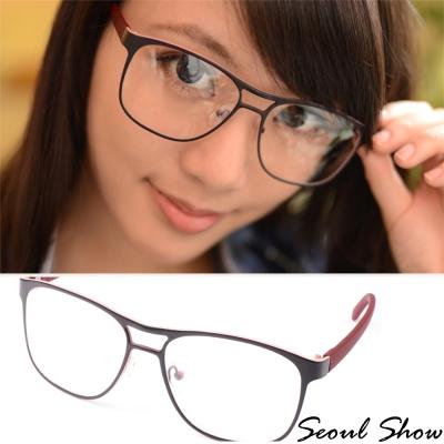Seoul-Show-輕快節奏圓框平光眼鏡-3038黑粉紅