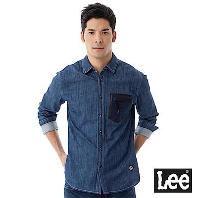 Lee 長袖牛仔襯衫-男款-中藍