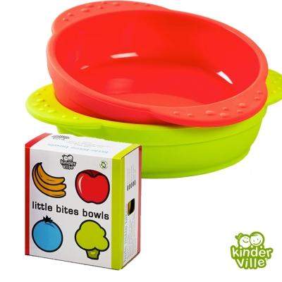 美國 Kinderville 寶寶矽膠小碗(紅色+綠色兩入一組)