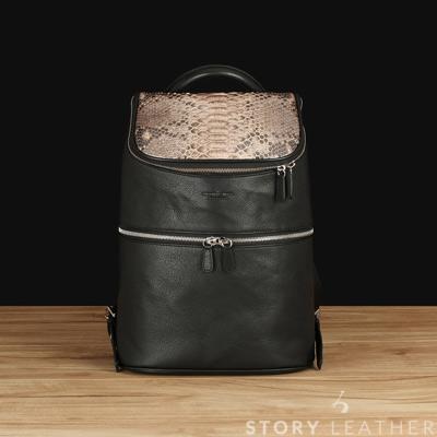 STORYLEATHER - 蟒蛇皮&苯染牛皮後背包 6656-Z16 米黑配黑 現貨