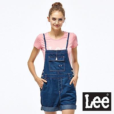 Lee 牛仔吊帶短褲-女款-深藍